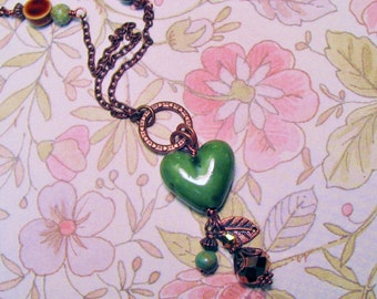Green Ceramic Heart Focal Bead with Antiqued Copper Toned Charms and Chain Romantic Bohemian Shabby Chic Womens Necklace Jewelry