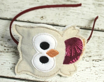 Owl Headband, Burlap Embroidered Felt Slider, Natural Headband, Girls Headband