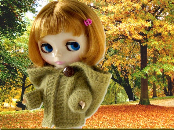 Blythe Doll Hooded Coat -  Knitting Pattern - Cardigan Jacket with Large Button Closure - PDF Instant Download - Easy Pattern