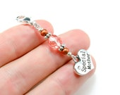 Sale Clearance Mothers Day Charm. Silver Heart Charm for Mom. Mothers Day Beaded Charm.BKC031
