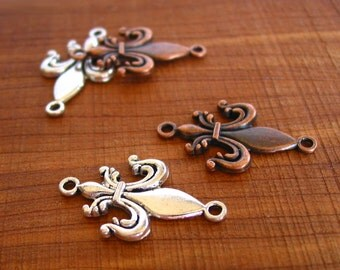 4pcs antique copper / silver 32mm x 18mm lily connector link charm metal findings LEAD FREE - PICK color