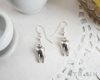 Antique Silver Teeth Earrings, Molar Earrings, Human Teeth Earrings, Tooth Fairy Earrings, Dentist Gift, Dentist Earrings, Dental Earrings