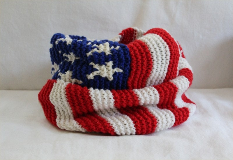 Knitting Pattern Us Flag : KNITTING PATTERN American Flag Infinity Scarf by theknittingniche