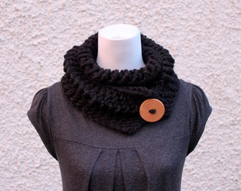 Black chunky lace button scarf, neckwear, gift for her