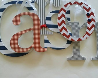 Baby Boy, Nursery Wall Letters, Wood Letter Decor, Red, Navy and Grey Theme,Hanging Name Sign, Chevron, Dots
