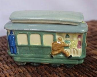 Vintage Trolly Car Ceramic Box