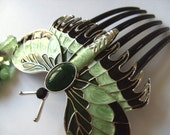 Green and black, Titanic Style,  Hair comb, with matching earrings, set, Moth, Butterfly, hair slide, By NewellsJewels on etsy