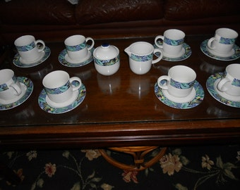 Vintage Vitromaster Key Largo 10  Piece Set-8 Cups/Saucers & Sugar/Creamer-1990