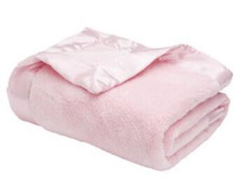Monogrammed Luxury Microfleece Baby Blanket - 0000Pink