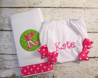 Monogrammed Baby Girl Gift Set with Burp Cloth and Baby Bloomers  Diaper Cover in Hot Pink and Green