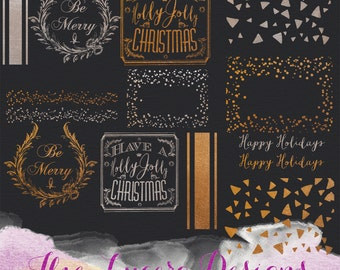 14 PNG Silver and Gold Glitter Christmas holiday overlays