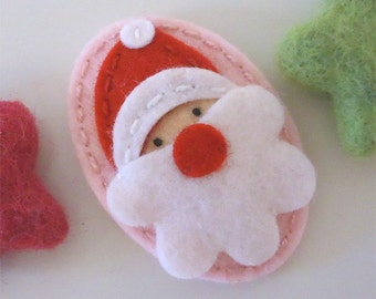 Felt hair clip -No slip -Wool felt -Santa Father Christmas -pale pink