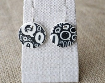 Bold Graphic Ceramic Jewellery, Porcelain Earrings with Black Q Newsprint by Mrs Peterson Pottery