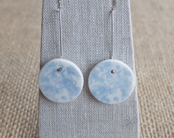 Porcelain Earrings with Baby Blue Cherry Blossom, Mrs Peterson Pottery