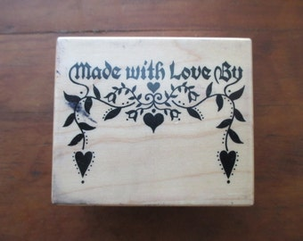 PSX E-558 rubber stamp mounted on wood - made with love by