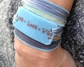 Live Love Wag, puppy love, dogs, pets, paw prints, Serenity Bracelet - wrap bracelet, fused glass on silk
