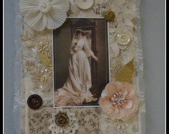 Vintage Look Bridal Fabric Collage.  Bridal Shower, Wedding.  ECS.