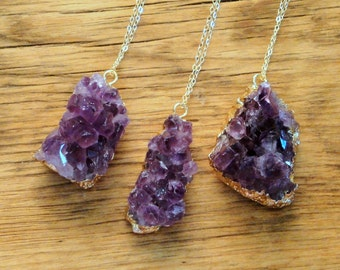 Amethyst Pendant Necklace on 14K Gold Filled Chain