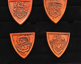 Hogwarts household pin. Leather!