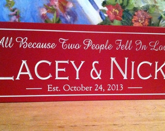 All because two people fell in love   Personalized Name Sign  unique wedding gift  bridal shower gift  wedding centerpieces