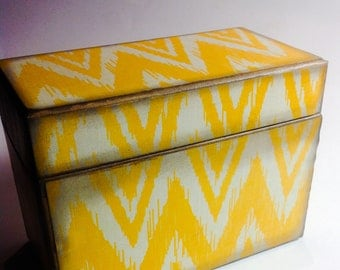 Recipe Card Box- Mustard Chevrons