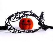Black masquerade ball mask, halloween mask, womens mask, venetian mask, costumes, accessories, handmade mask