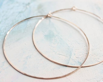 "Rose Gold Hoops - Extra Large Hoop Earrings ( 2.5"" ) thing rose gold hoop earings, pink gold earrings, large hoops"
