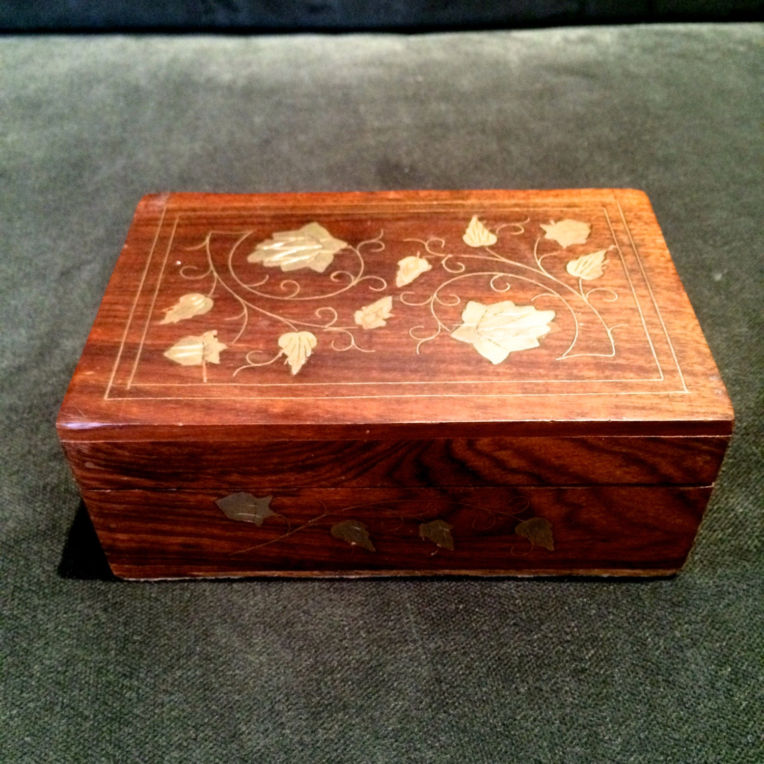 Decorative Wooden Jewelry Boxes : Wood box brass inlaid design decorative small wooden