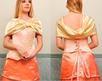 Yellow Fichu Shawl in Satin Polyester