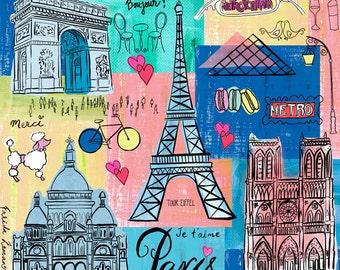 Paris Travel Travel Map wall art wall Print icons home decor