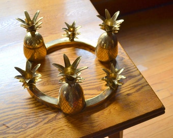 vintage hollywood regency brass pineapple candelabra / mothers day / mom