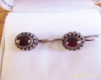 Sterling Silver Cabochon Garnet Dangle Drop Pierced Earrings