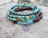 Tahitian Stacker Set  - Beaded Stretch Bracelets with Sunflower Charm and Blue Pearls