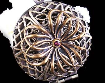 Steampunk Locket Necklace Working Compass Necklace Flower Locket Compass Locket