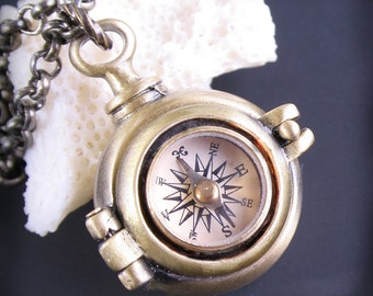 Secret Compartment Compass Necklace Working Compass Locket Brass