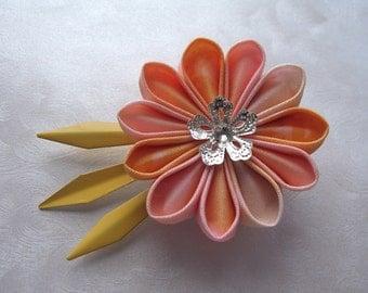 Of Sunrises in Springtime Kanzashi Flower Hair Clip Clock Hand Fascinator