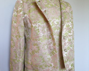 Vintage ABE SCHRADER Floral Cream And Mint Green Colored Suit Dress And Matching Jacket