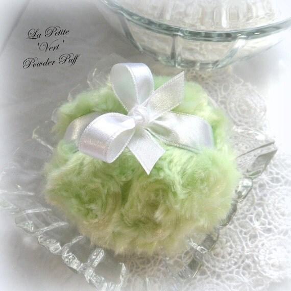 GREEN Powder Puff - La Petite Vert pouf - mini key lime green - miniature bath pouf - gift boxed