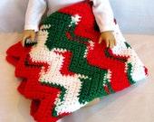 CHRISTMAS Crocheted Doll Blanket Sasha American Girl Chevron Gotz Throw Lap Blanket Kidz n Cats Comforter Picnic Blanket Red White Green