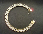 Sparkling Signed Diamond 925 Sterling and Gold Fill Two Tone  Bracelet