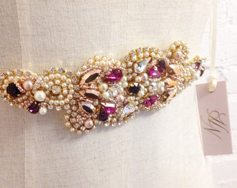 Rose Gold and Berry Crystal Bridal Belt- SWAROVSKI- Rhinestone, Sequin and Pearl Bridal Sash