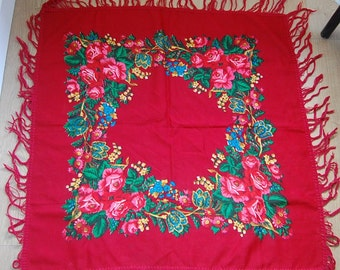 """Vintage Russian Scarf Shawl - Wool - Burgundy Pink Blue Flowers Floral on Red with Tassels - 31"""" inches - From Russia Soviet Union USSR"""