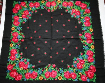 "Vintage Russian Scarf Shawl Pink Roses Flowers Floral on Black Wool 35"" inches From Russia Soviet Union USSR"