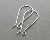 Two pair, Sterling silver long rounded ear wires, ear hook, Sterling silver findings