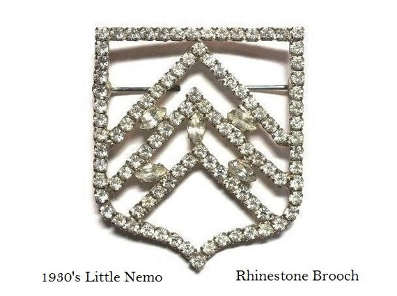 30's Little Nemo Art Deco Rhinestone Brooch with Prong Set Crystals in Pot Metal Geometric Motif - Late Deco Circa 1930's Designer Jewelry
