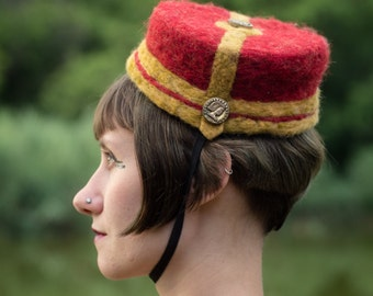 Needle felted BELLBOY HAT - wool with antique buttons