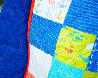 Crib Quilt - Baby Quilt - Handmade - Whales, Ocean, Nautical, Anchors, Sharks, Stars, Fish, Beach, Sea - Modern