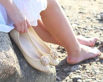 Beige cream fabric shoe clips wedding bridesmaid