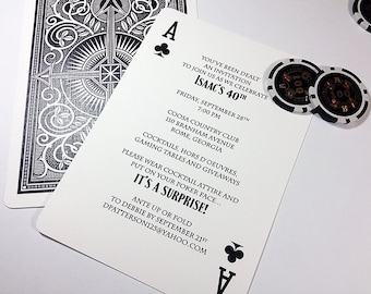 Ace of Spades, Playing Card, Party Invitation, Poker Tournament, Euchre Party, Game Night, Printable Digital, Printed Invites