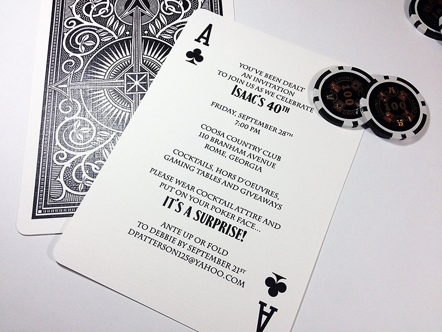 Ace of Spades Playing Card Party Invitation Poker – Playing Card Invitation